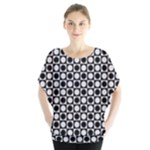 Modern Dots In Squares Mosaic Black White Blouse