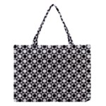 Modern Dots In Squares Mosaic Black White Medium Tote Bag