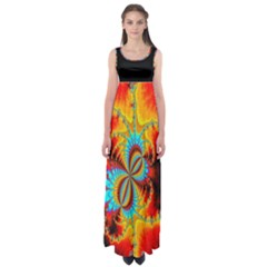 Crazy Mandelbrot Fractal Red Yellow Turquoise Empire Waist Maxi Dress by EDDArt