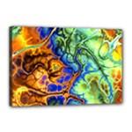 Abstract Fractal Batik Art Green Blue Brown Canvas 18  x 12