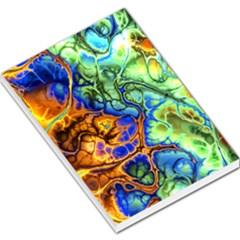 Abstract Fractal Batik Art Green Blue Brown Large Memo Pads by EDDArt