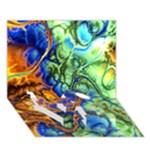 Abstract Fractal Batik Art Green Blue Brown LOVE Bottom 3D Greeting Card (7x5)