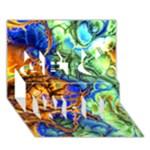Abstract Fractal Batik Art Green Blue Brown Get Well 3D Greeting Card (7x5)