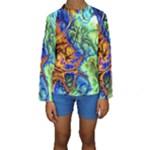 Abstract Fractal Batik Art Green Blue Brown Kids  Long Sleeve Swimwear