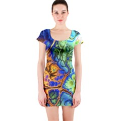 Abstract Fractal Batik Art Green Blue Brown Short Sleeve Bodycon Dress by EDDArt