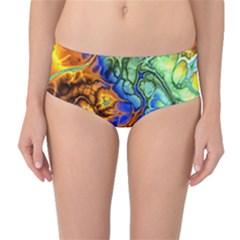 Abstract Fractal Batik Art Green Blue Brown Mid Waist Bikini Bottoms by EDDArt