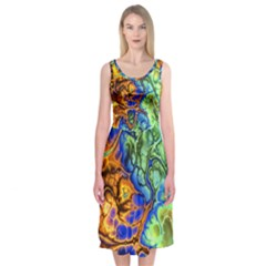 Abstract Fractal Batik Art Green Blue Brown Midi Sleeveless Dress by EDDArt