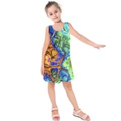 Abstract Fractal Batik Art Green Blue Brown Kids  Sleeveless Dress by EDDArt