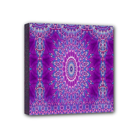 India Ornaments Mandala Pillar Blue Violet Mini Canvas 4  X 4  by EDDArt
