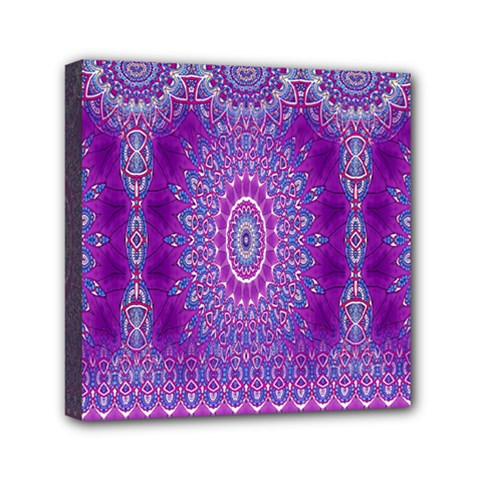 India Ornaments Mandala Pillar Blue Violet Mini Canvas 6  X 6  by EDDArt
