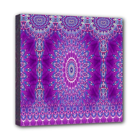 India Ornaments Mandala Pillar Blue Violet Mini Canvas 8  X 8  by EDDArt