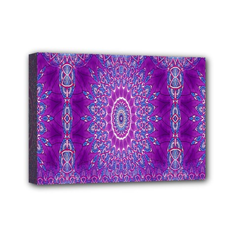 India Ornaments Mandala Pillar Blue Violet Mini Canvas 7  X 5  by EDDArt