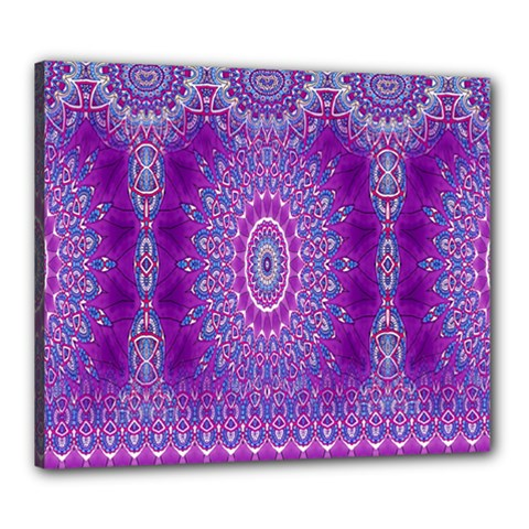 India Ornaments Mandala Pillar Blue Violet Canvas 24  X 20  by EDDArt