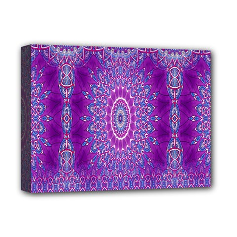 India Ornaments Mandala Pillar Blue Violet Deluxe Canvas 16  X 12   by EDDArt