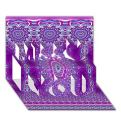 India Ornaments Mandala Pillar Blue Violet Miss You 3d Greeting Card (7x5) by EDDArt