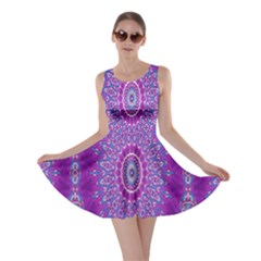India Ornaments Mandala Pillar Blue Violet Skater Dress by EDDArt