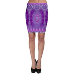India Ornaments Mandala Pillar Blue Violet Bodycon Skirt by EDDArt