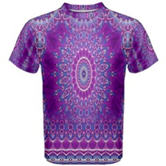 India Ornaments Mandala Pillar Blue Violet Men s Cotton Tee by EDDArt