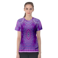 India Ornaments Mandala Pillar Blue Violet Women s Sport Mesh Tee by EDDArt