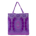 India Ornaments Mandala Pillar Blue Violet Grocery Tote Bag