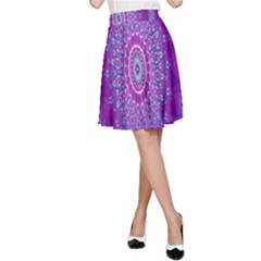 India Ornaments Mandala Pillar Blue Violet A Line Skirt by EDDArt