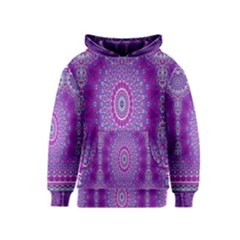 India Ornaments Mandala Pillar Blue Violet Kids  Pullover Hoodie by EDDArt