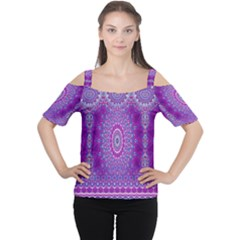 India Ornaments Mandala Pillar Blue Violet Women s Cutout Shoulder Tee by EDDArt