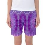 India Ornaments Mandala Pillar Blue Violet Women s Basketball Shorts