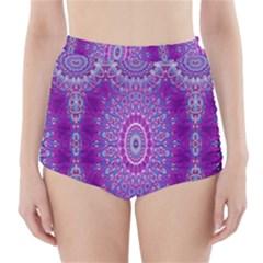 India Ornaments Mandala Pillar Blue Violet High Waisted Bikini Bottoms by EDDArt