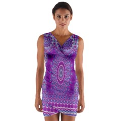 India Ornaments Mandala Pillar Blue Violet Wrap Front Bodycon Dress by EDDArt