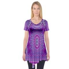 India Ornaments Mandala Pillar Blue Violet Short Sleeve Tunic  by EDDArt