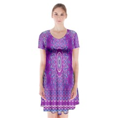 India Ornaments Mandala Pillar Blue Violet Short Sleeve V Neck Flare Dress by EDDArt