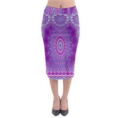 India Ornaments Mandala Pillar Blue Violet Midi Pencil Skirt by EDDArt