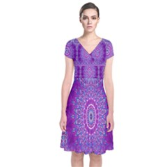 India Ornaments Mandala Pillar Blue Violet Short Sleeve Front Wrap Dress by EDDArt
