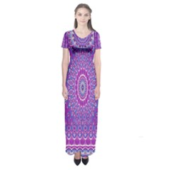 India Ornaments Mandala Pillar Blue Violet Short Sleeve Maxi Dress by EDDArt