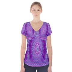 India Ornaments Mandala Pillar Blue Violet Short Sleeve Front Detail Top by EDDArt