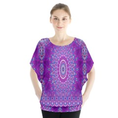 India Ornaments Mandala Pillar Blue Violet Blouse by EDDArt