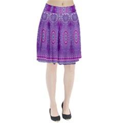 India Ornaments Mandala Pillar Blue Violet Pleated Skirt by EDDArt