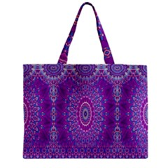 India Ornaments Mandala Pillar Blue Violet Medium Zipper Tote Bag by EDDArt