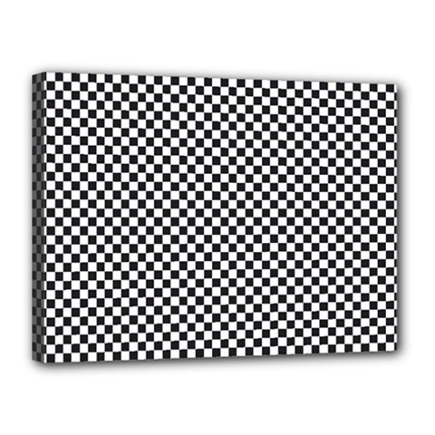 Sports Racing Chess Squares Black White Canvas 16  X 12  by EDDArt