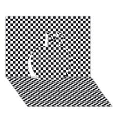 Sports Racing Chess Squares Black White Apple 3d Greeting Card (7x5) by EDDArt