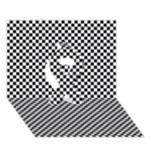 Sports Racing Chess Squares Black White Ribbon 3D Greeting Card (7x5)