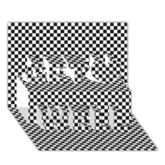 Sports Racing Chess Squares Black White Get Well 3d Greeting Card (7x5) by EDDArt