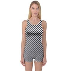 Sports Racing Chess Squares Black White One Piece Boyleg Swimsuit by EDDArt
