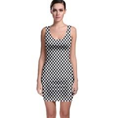 Sports Racing Chess Squares Black White Sleeveless Bodycon Dress by EDDArt