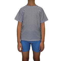Sports Racing Chess Squares Black White Kids  Short Sleeve Swimwear by EDDArt