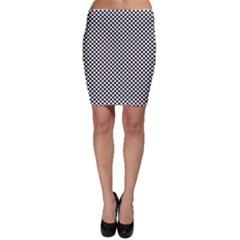 Sports Racing Chess Squares Black White Bodycon Skirt by EDDArt