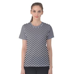 Sports Racing Chess Squares Black White Women s Cotton Tee by EDDArt