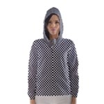 Sports Racing Chess Squares Black White Hooded Wind Breaker (Women)