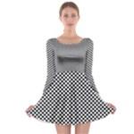 Sports Racing Chess Squares Black White Long Sleeve Skater Dress